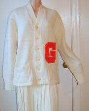 "Vintage 40s-50s Man's Letter Sweater Off White w Orange Letter ""G"" Sz 44 E2B"