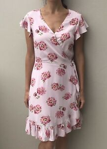 Just Jeans Pretty Pink Floral Wrap Day Dress w Ruffle  Lined 10 Breastfeeding F