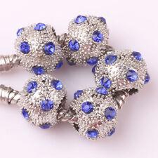 Fashion 5pcs Silver Czech big hole Beads Fit European Charm Bracelet DIY #A167