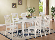 7pc set rectangular dinette dining table with 6 wood seat chairs in off-white