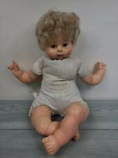 """Vintage Uneeda 1968 Baby Doll 23"""" Green Sleep Eyes Blonde Hair"""