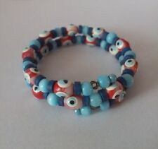 NEW Evil Eye Bangle Bracelet Blue & Red Beads Jewellery Girls Kids Womens Gift