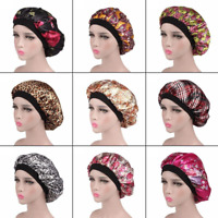 Adjustable Wide Band Satin Bonnet Hair Cap Night Sleep Hat Turban for Womens 1pc