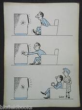 """Clifford C Lewis """"Clew"""" Original Pluma Y Tinta De Dibujos Animados-TV viendo marido #38"""