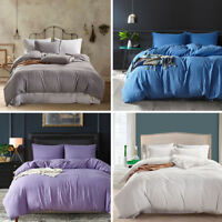 3pcs  King Queen Twin Duvet Cover Bedding Set Pillowcase   Color Bed Sheet