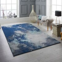 Sansa 1802L Blue Distressed Style Soft Touch Rug in various sizes