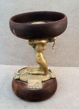 Vtg ART DECO Bronze EGYPTIAN REVIVAL Kneeling NUDE Holding WOOD BOWL On Her BACK