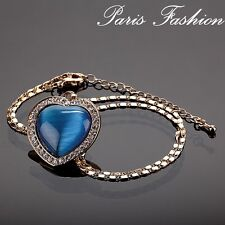 Luxury Necklace Paris Chain Heart Pendant Cat Eye Rhinestone Glass