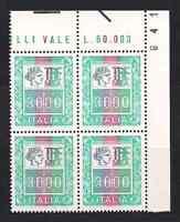 ITALIA 1979 QUARTINA ALTI VALORI 3000 lire  SASSONE N°1440 NUOVO  MNH** LUSSO