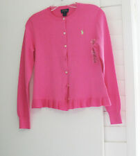 Polo Ralph Lauren Girls Ruffled Cotton Cardigan Bright Rose Sz XL (16) - NWT