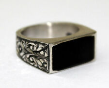 Sterling Silver 925 men ring , design with . black amber stone ,steel pen crafts