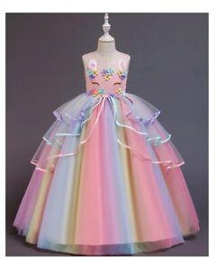 Flower Girl Princess Dress Birthday Party Unicorn Costume Rainbow dress