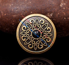 10x 30MM Black Turquoise Flower HANDCRAFT Leather Concho Antique Brass Screwback