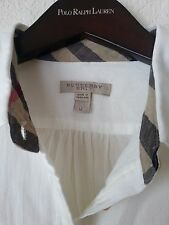 NEW BURBERRY BRIT WOMEN'S CHECK COLLAR COTTON WHITE BLOUSE TUNIC SHIRT TOP Sz M