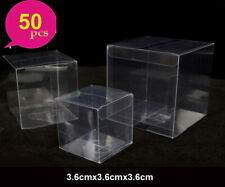50- Clear PVC Plastic Fold Square Packing Box for Wedding Gift Party Food Candy