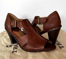 H.S. Trask Leather Heels Size 6.5 Womens Brown Peep Toe Buckle Strap Sty 36-0982