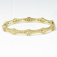NYJEWEL Judith Ripka 18k Solid Gold Prong 0.6ct Diamond Bangle Bracelet