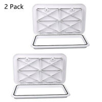 """2 Pack Marine Boat Deck Hatch Access Hatch & Lid 24"""" X 14"""" - White Rubber Seal"""