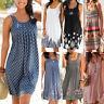 Summer Womens Casual Sleeveless Floral Crew Neck Beach Size Plus Tank Dress