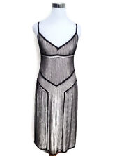 RALPH LAUREN Black Label Dress 2 Black White Beaded Sleeveless Cocktail Holiday