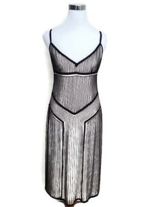 RALPH LAUREN Black Label Dress 2 Black White Beaded Sleeveless Midi V Neck Gown