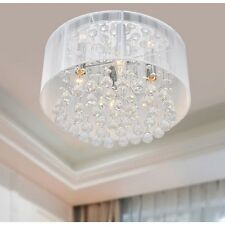 Drum Shade Crystal Chandelier Flush Mount Light Fixture Chrome White Modern Room