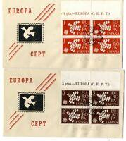 2 Sobres primer dia España 1960 Europa CEPT Bloque de cuatro Spain First day