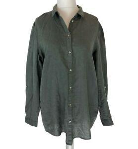 Womens Esprit Grey Linen & Cotton mix button blouse shirt UK Size 16, EXC CON