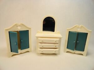Dollhouse miniature 3 pc. White and Blue Bedroom Set Mirrored Dresser 2 Closets