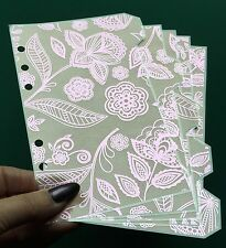 Filofax Personal Planner - Dusty Pink & Pink Foil Flower Dividers - Laminated