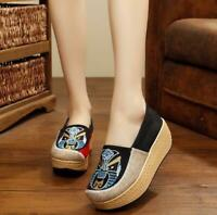 Womens Canvas High Wedge Heel Platform Slip On Loafers Casual Creepers Shoes