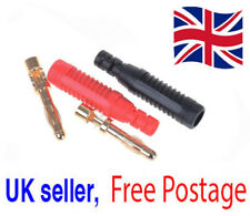 2x Gold Plated Copper 4mm Banana Male Plugs Test DIY Solder Connector UK Seller*