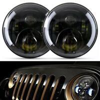 2x 7 Inch LED Headlight Angel Eyes DRL Hi-Lo Beam Light for Jeep Wrangler JK LJ
