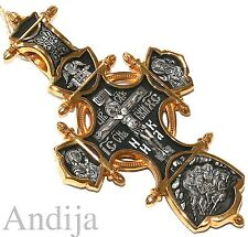 24K Gold Plating Silver 925 Russian Orthodox Large Body Crucifix Save & Protect