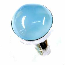 Sky Onyx Agate Gemstone 35.00Cts Silver Overlay Handmade Ring US Size 9.5