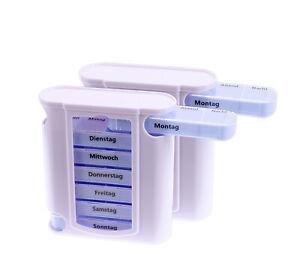 2x Tablettenbox Pillendose Medikamentendispenser Tablettenspender Woche 7 Tage