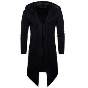 New Men Black Hoodie Cloak Jackets Casual Long Sweatshirt Outwear Coat M-5XL