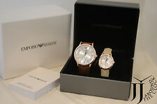 New Emporio Armani Rose Gold Tone Leather His & Her Watch Box Set AR9108