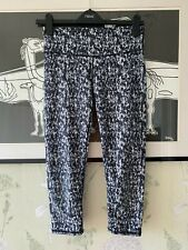 Grey Patterned Activewear/Fitness Cropped Leggings - Size S