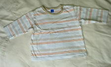 BABY BOYS T SHIRT TOP WHITE 3-6 MONTHS STRIPED TOP CONDITION