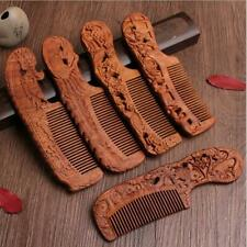 Natural Sandalwood Comb Carving Magpie plum Blossom Wood Massage Hair Comb