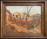EDGAR E. WATERS Marina, Fishing Boat, Original Oil Painting 1934 Vintage Framed