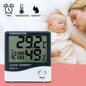 Digital LCD Hygrometer Temperature Humidity Meter Clock Indoor Home Thermometer