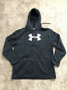 Under Armour UA Black Hoody White Logo Fleece Lined Youth Large L
