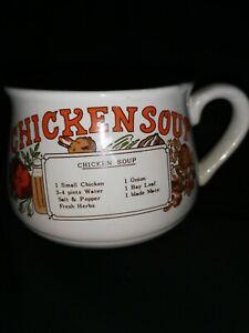 Vintage Retro Ceramic 1970s Chicken Soup Recipe Mug Cup Bowl with Handle