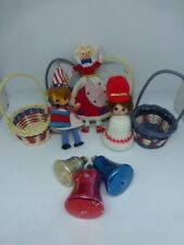 Vintage 4th of July Ornaments Craft Miniature Baskets Glass Bells