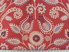 Drapery Upholstery Fabric Water Repellent Cotton Twill Abstract Leaf Vine - Red