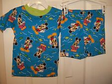 Mickey Mouse Blue Green Short 2 Piece Pajama PJ  Set Boys Size 4T NWT #197