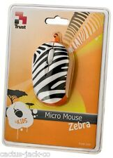 NEW TRUST BLACK & WHITE ZEBRA OPTICAL USB MICRO MOUSE