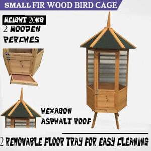 SMALL BIG BIRD CAGE FIR WOOD WIRE MESH AVIARY BUDGIE CANARY PARROT
